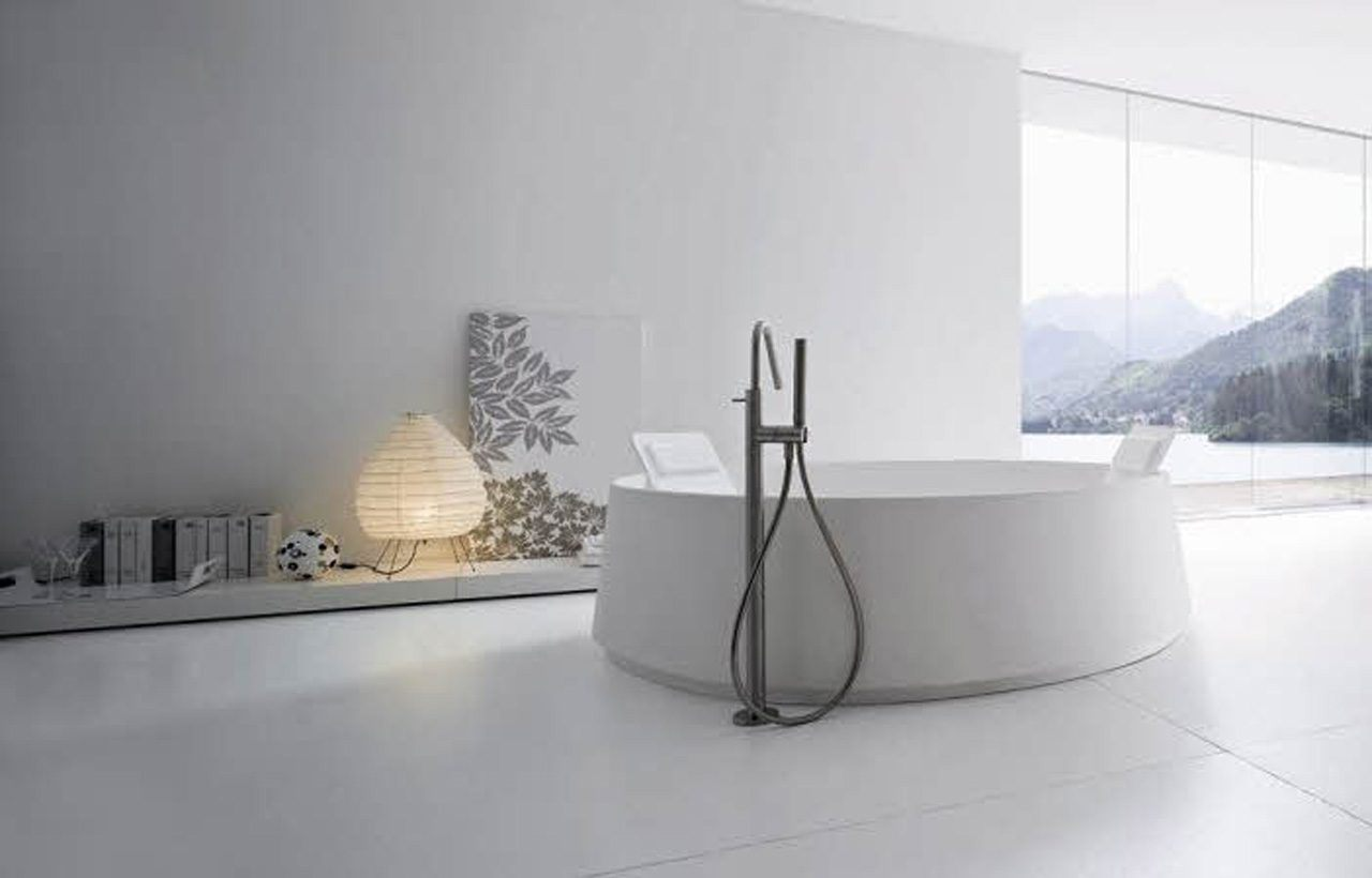 Banheira circular moderna fotos e imagens for White bathroom ideas photo gallery