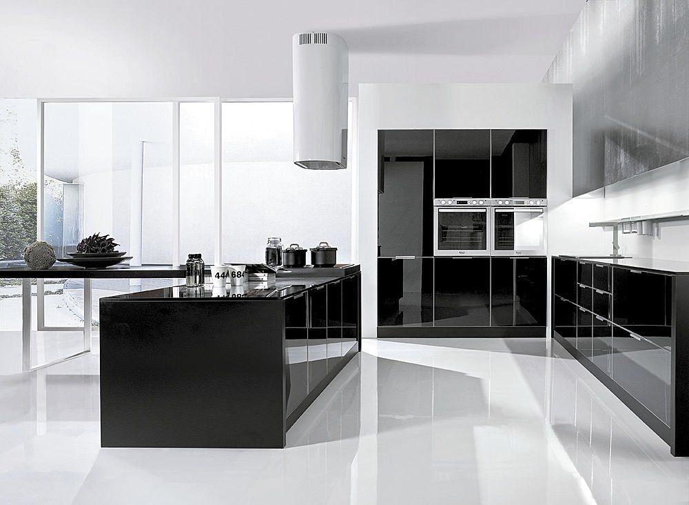 Decora o moderna e contempor nea for Cocina con electrodomesticos de color negro