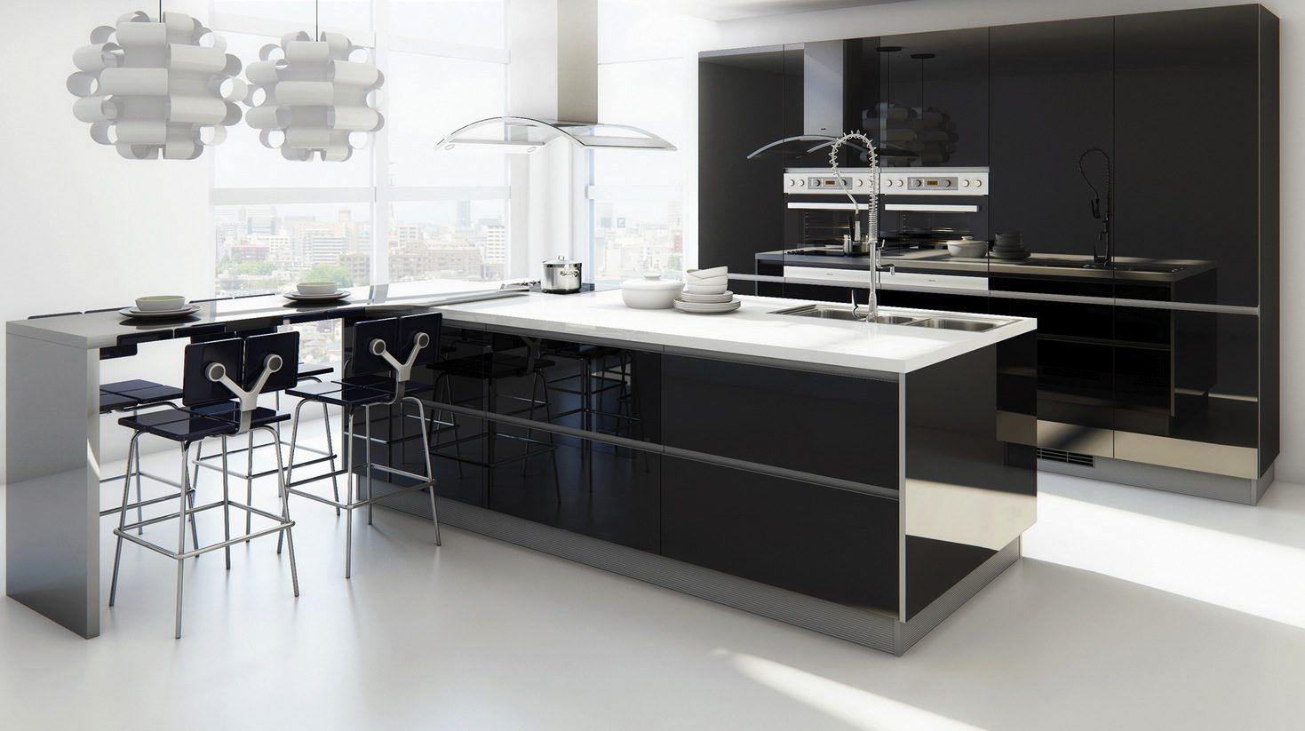 M veis de cozinha modernos sem puxadores for Muebles minimalistas para casas pequenas