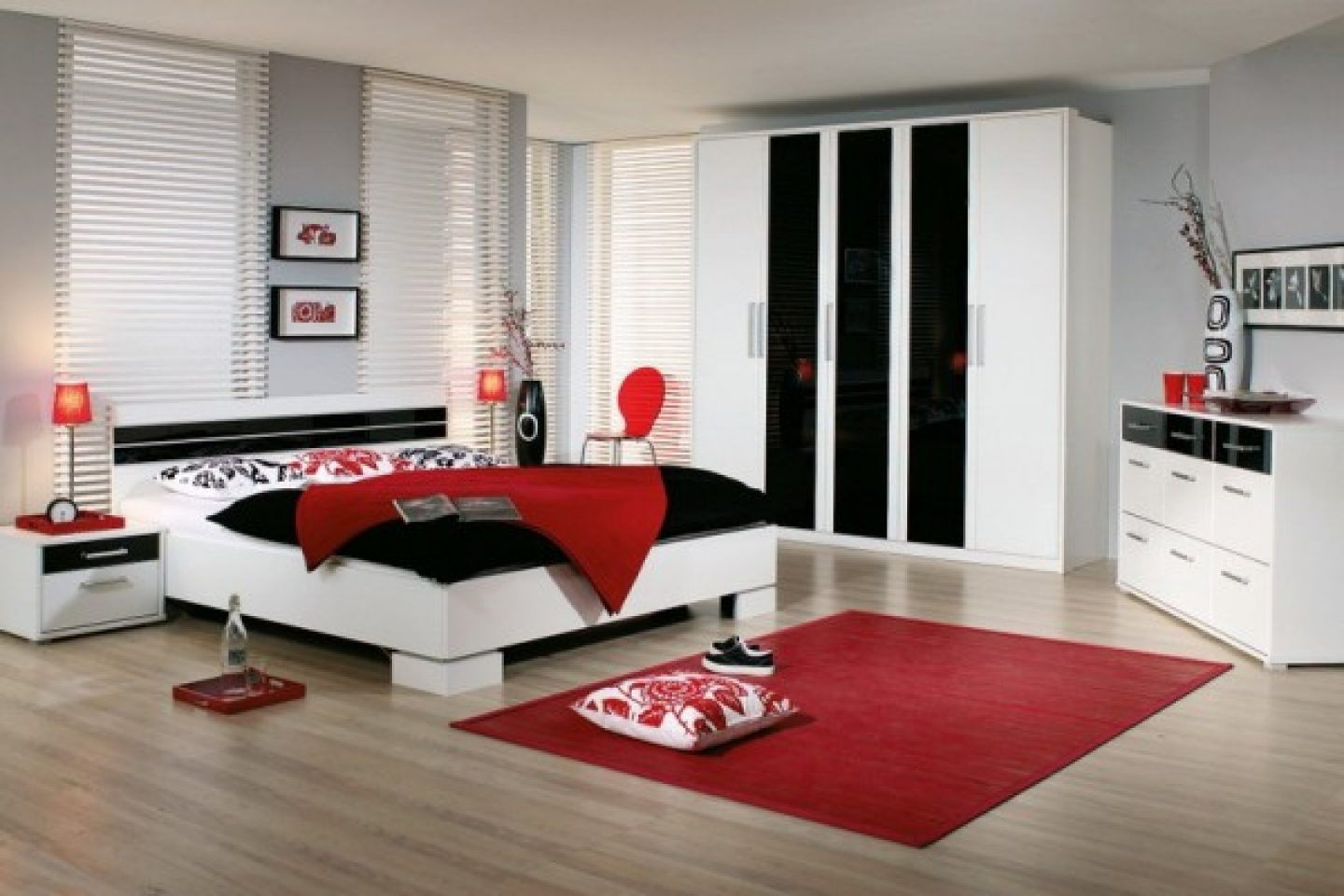 Quartos de casal modernos - Black white and red bedroom decorating ideas ...